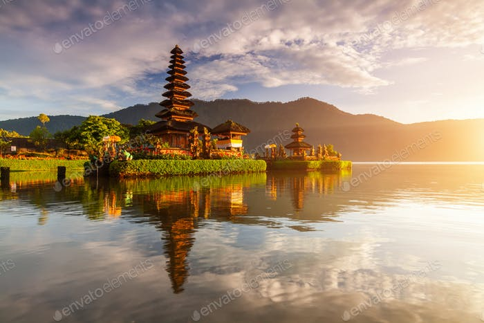 Pura Ulun Danu temple panorama at sunrise on a lake Bratan, Bali, Indonesia.