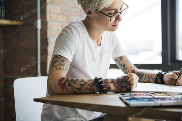 Tattoo Frau Kreative Ideen Design Inspiration Konzept