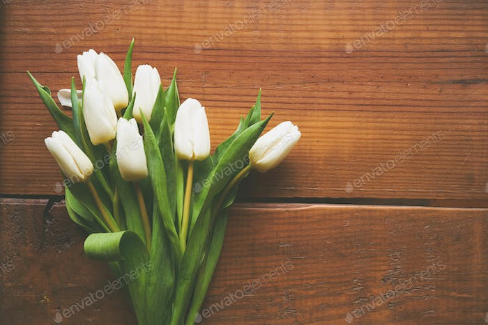 Top view of white tulips