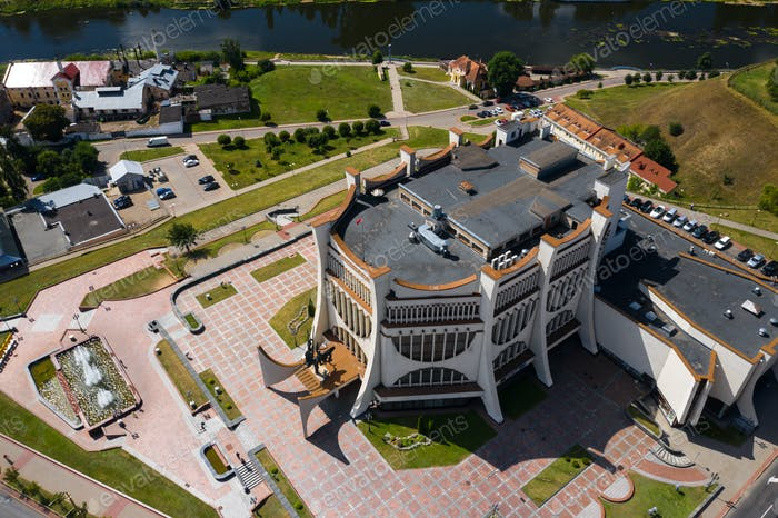 Top view of the city center of Grodno and the white Opera house, Belarus. The historic center of the