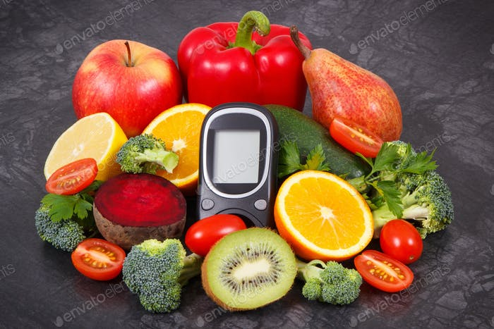 Glucose meter for checking sugar level and fruits with vegetables