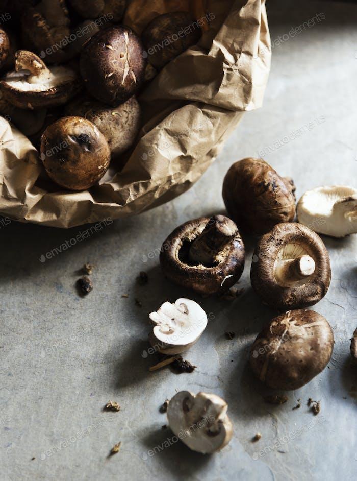 Closeup of fresh organic shiitake cremini mushroom