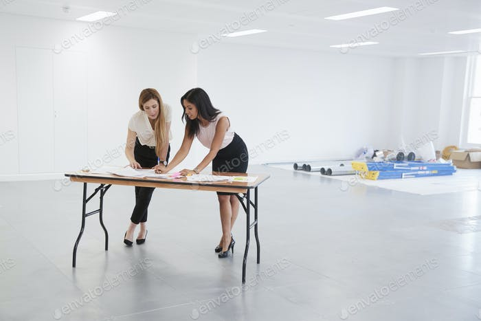 Businesswomen discussing plans for office interior design