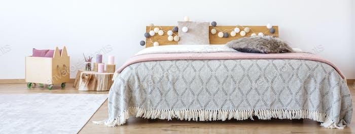 Cotton balls in girl's bedroom