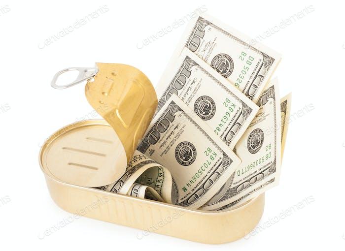 US-Dollar-Scheine in Metalldose