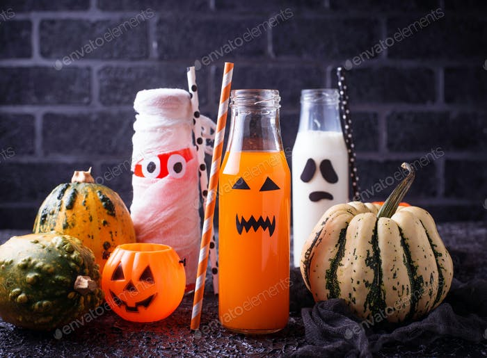 Selection of different Halloweens drinks for party