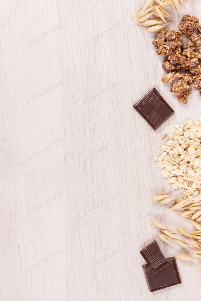 Granola, oat flakes and chocolate as source iron and fiber