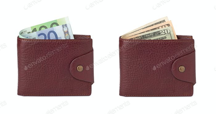 euro and dollars in wallets