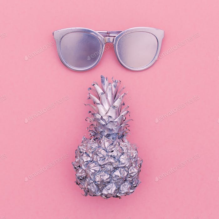Silver set vacation. Pineapple, sunglasses, beach fashion style