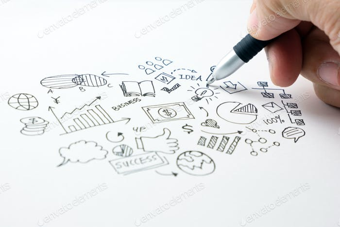Business Doodles Icons Set - handgezeichnet