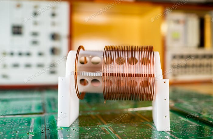 Close-up large and small coils