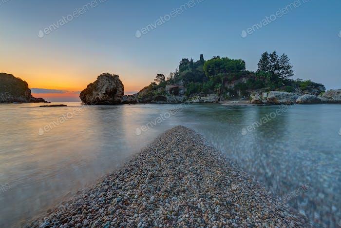 Isola Bella in Sicily at dusk