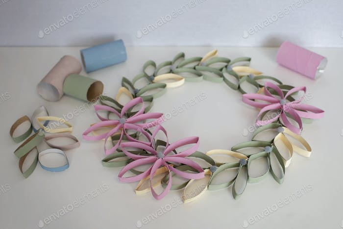 Wreath from toilet roll tube for Easter celebration, zero waste craft for kids, neutral pastel