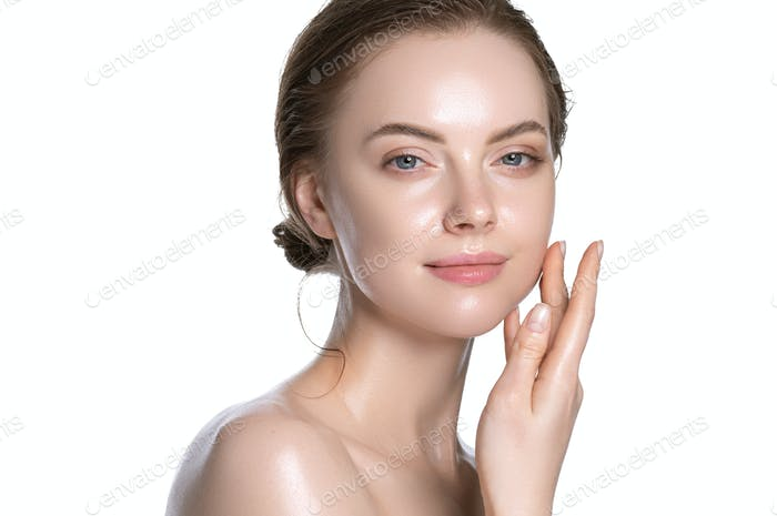 Young portrait view, touching cheek woman healthy hydration clean skin face. Isolated white