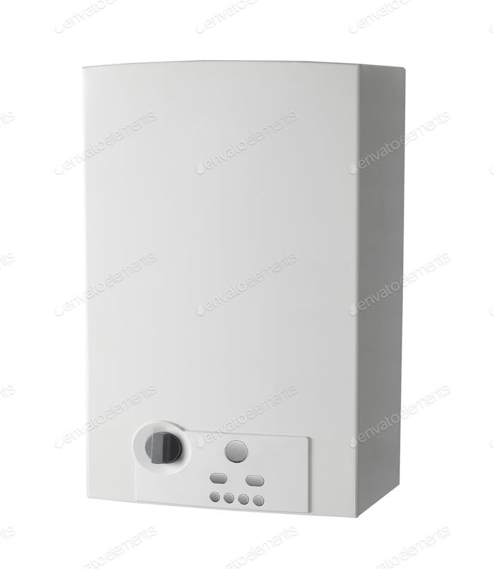 White home gas-fired boiler isolated