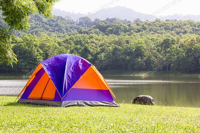 Dome tent camping at lake side _-12
