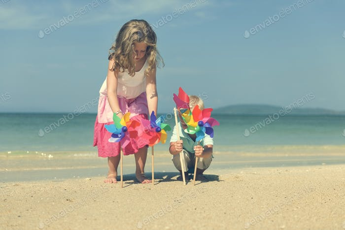 Beach Sibling Child Wind Carefree Fun Playful Concept