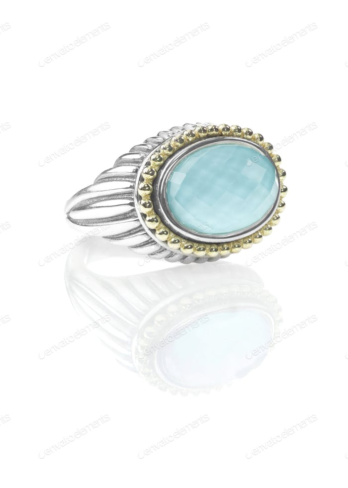 SIlver Gold Duotone Turquoise Cushion Cut Fashion Ring