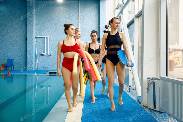 Female swimmers group after aqua aerobics training