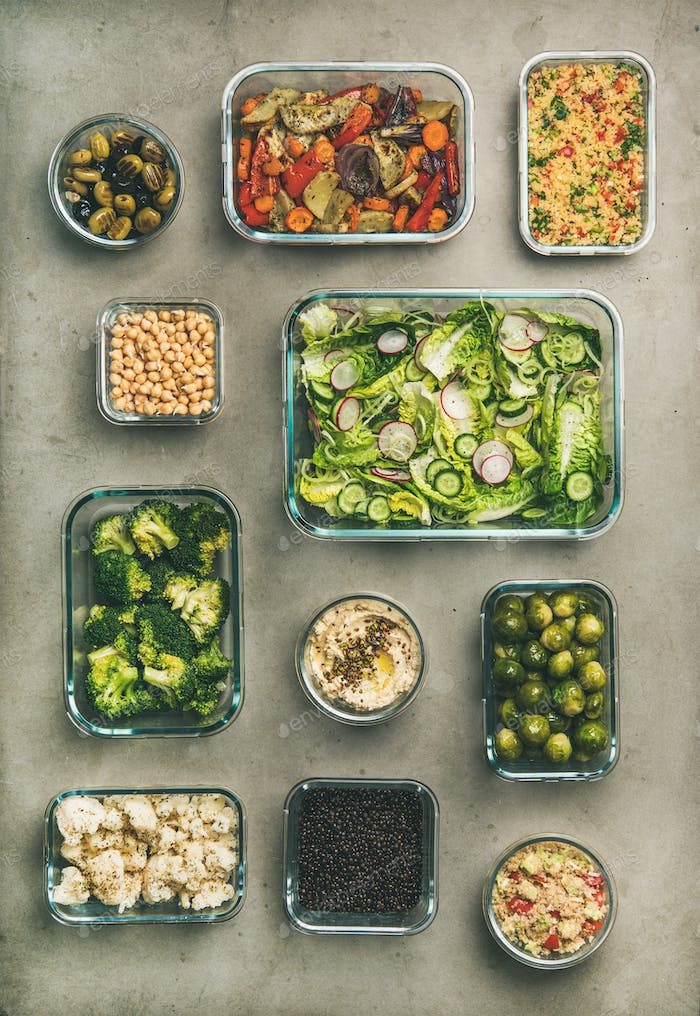 Healthy vegan or vegetarian dishes in containers, vertical composition