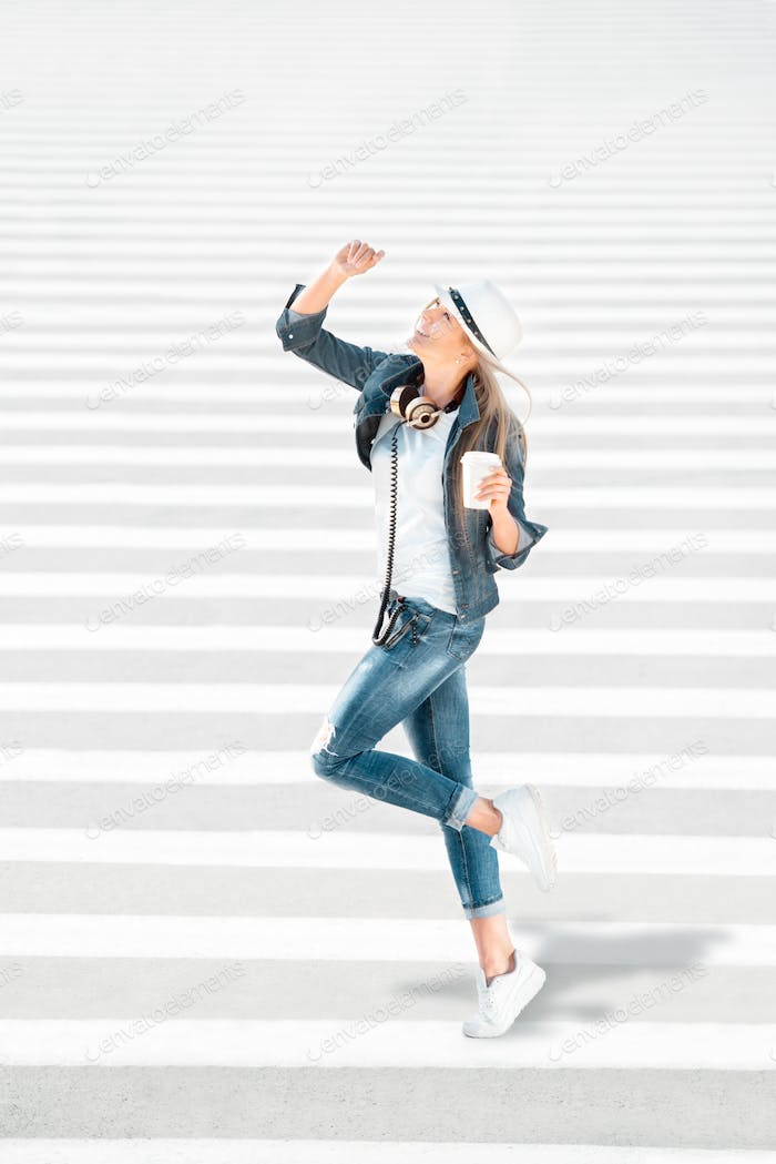 Walking on zebra cross.