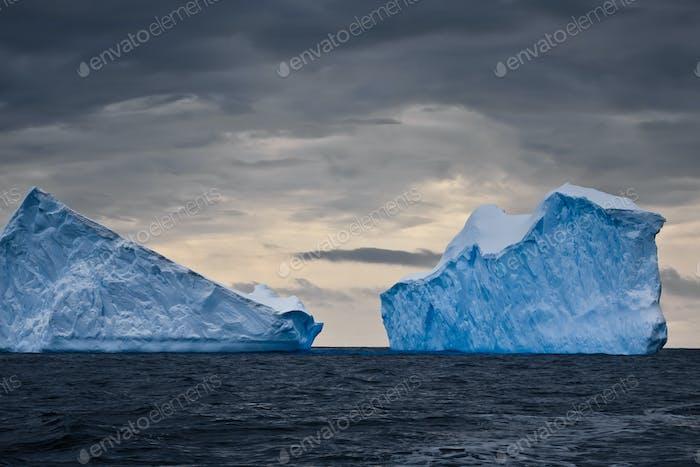 Huge icebergs in Antarctica