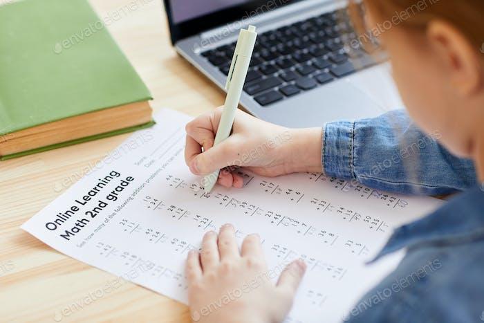 Girl Doing Math Test