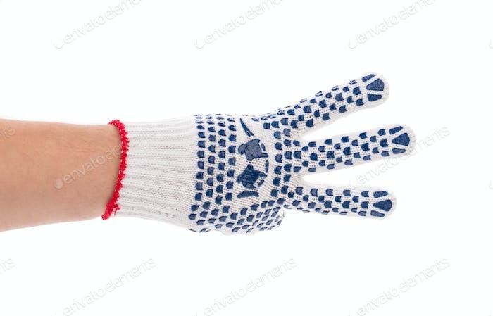Thin work gloves shows three fingers.