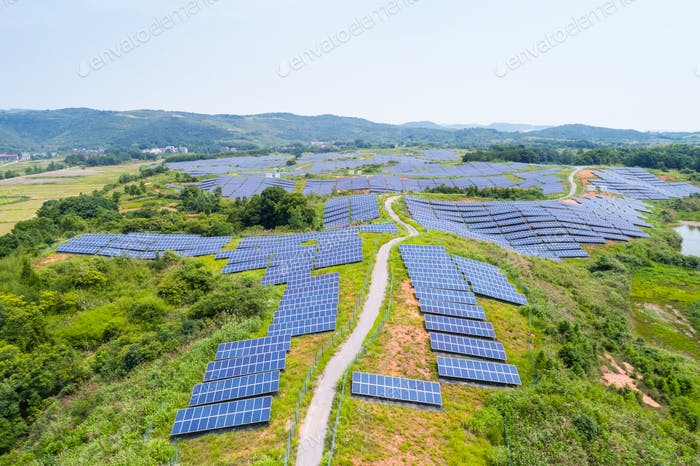 aerial view of hillside solar energy