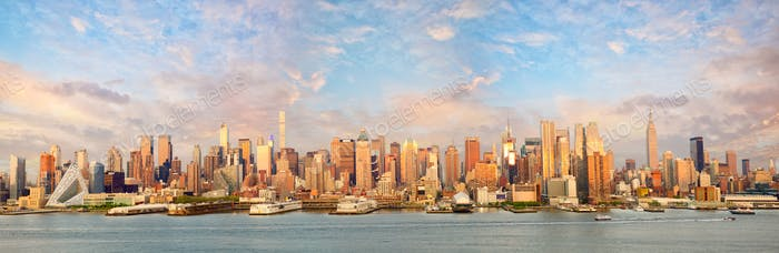 Manhattan skyline panorama at sunset