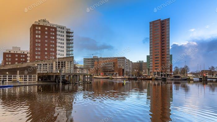 Zuiderhaven Groningen centre at sunset