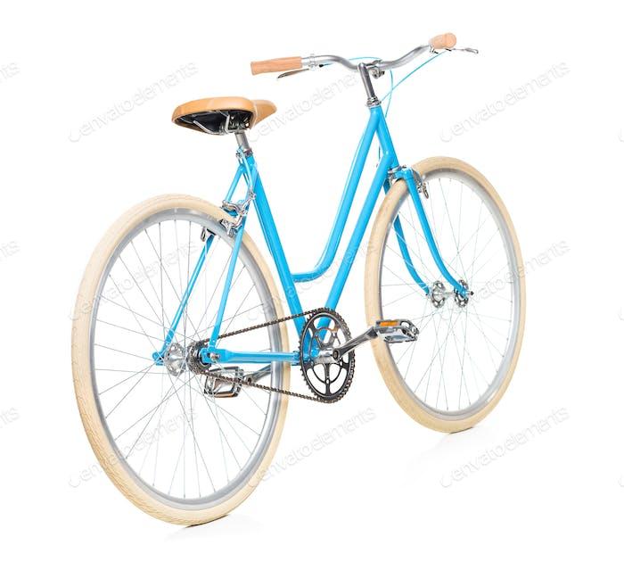 Stilvolle Damen blau Fahrrad isoliert auf weiß