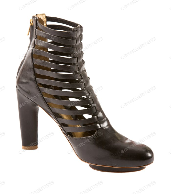 Leather zipped high heel bootie
