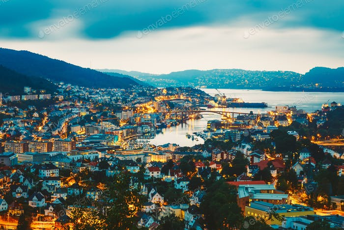 Cityscape Of Bergen City From Mountain Top, Norway.