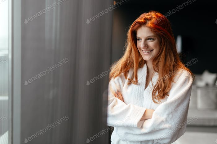 Beautiful woman enjoying wellness weekend
