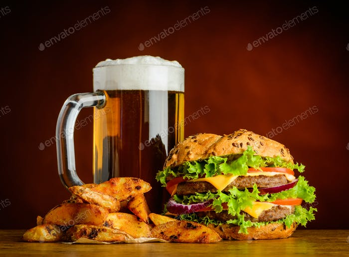 Cold Beer with Burger and Fried Potatoes