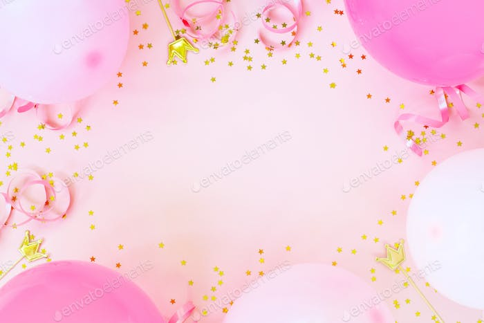 Pink Birthday Party Background with Balloons