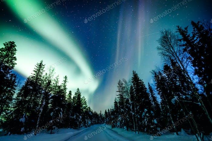 Nordlichter Aurora Borealis Aktivitäten über die Straße im Winter Finnland