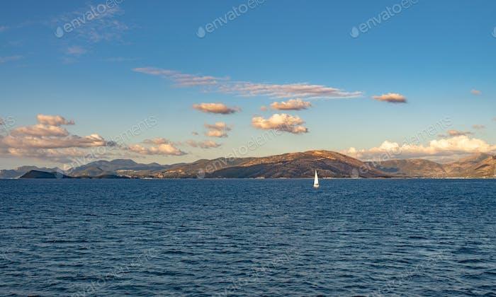 Sealine of Ionian sea near Corfu island