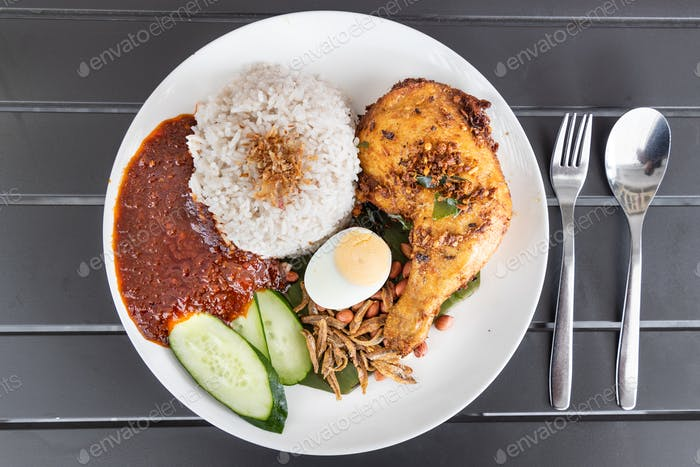 Nasi lemak with fried chicken and sambal, Malaysia popular food
