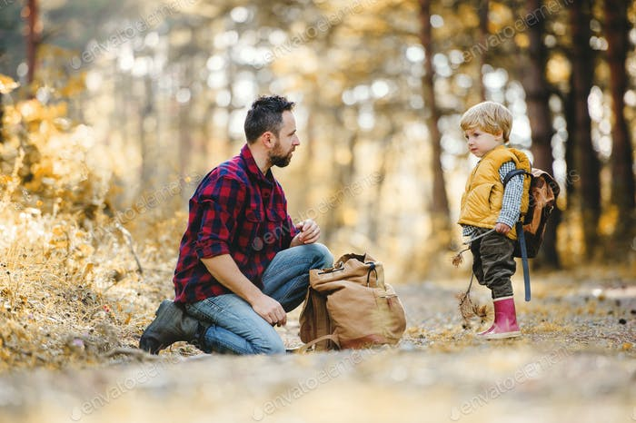 A mature father with backpack and toddler son in an autumn forest.
