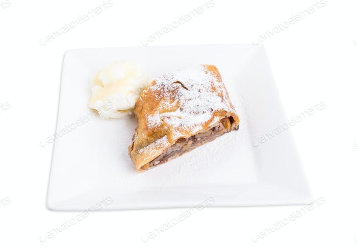 Delicious strudel with apple and walnuts.