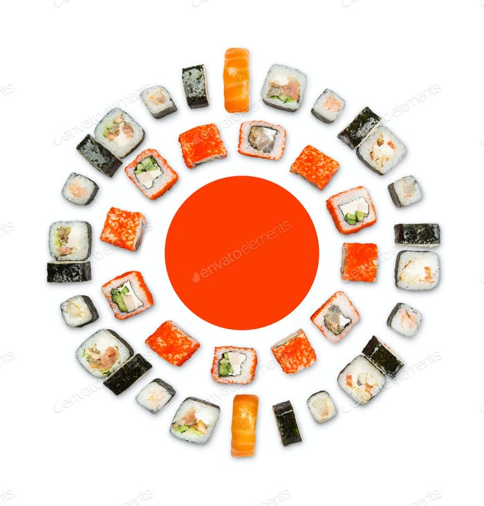 Set of sushi, maki and rolls isolated on white background