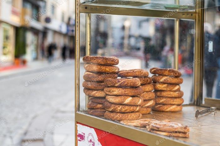Street wagon in Turkey selling simit, a traditional Turkish street food