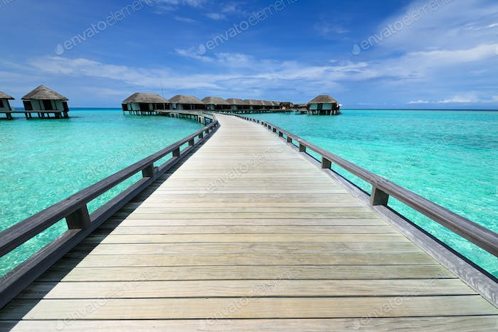 Beautiful beach with water bungalows