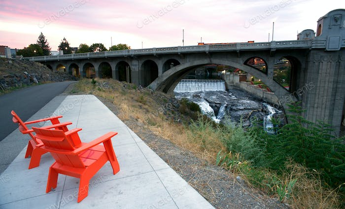Sitting Area Chairs Riverfront View Arch Bridge Spokane Washington