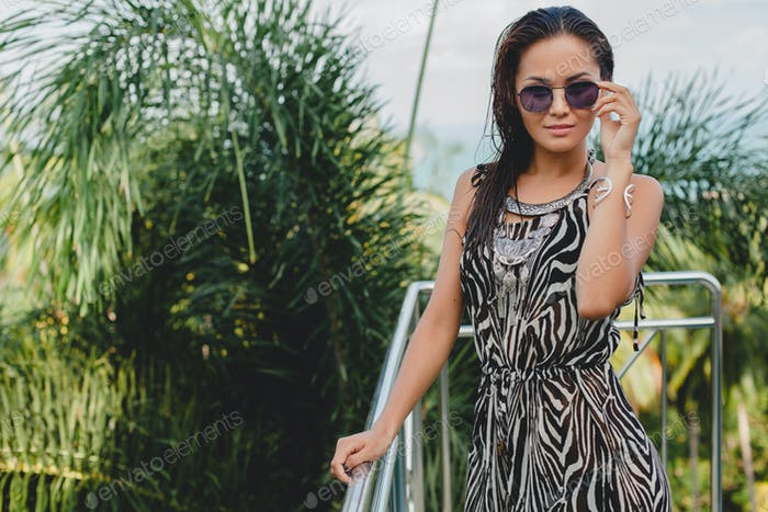 young asian sexy beautiful woman in tropical dress, zebra print