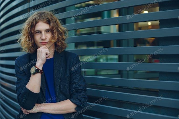 Model man over urban futuristic background