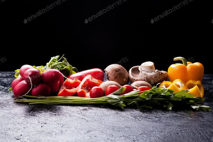 Healthy organic lifestyle concept image with different vegetable