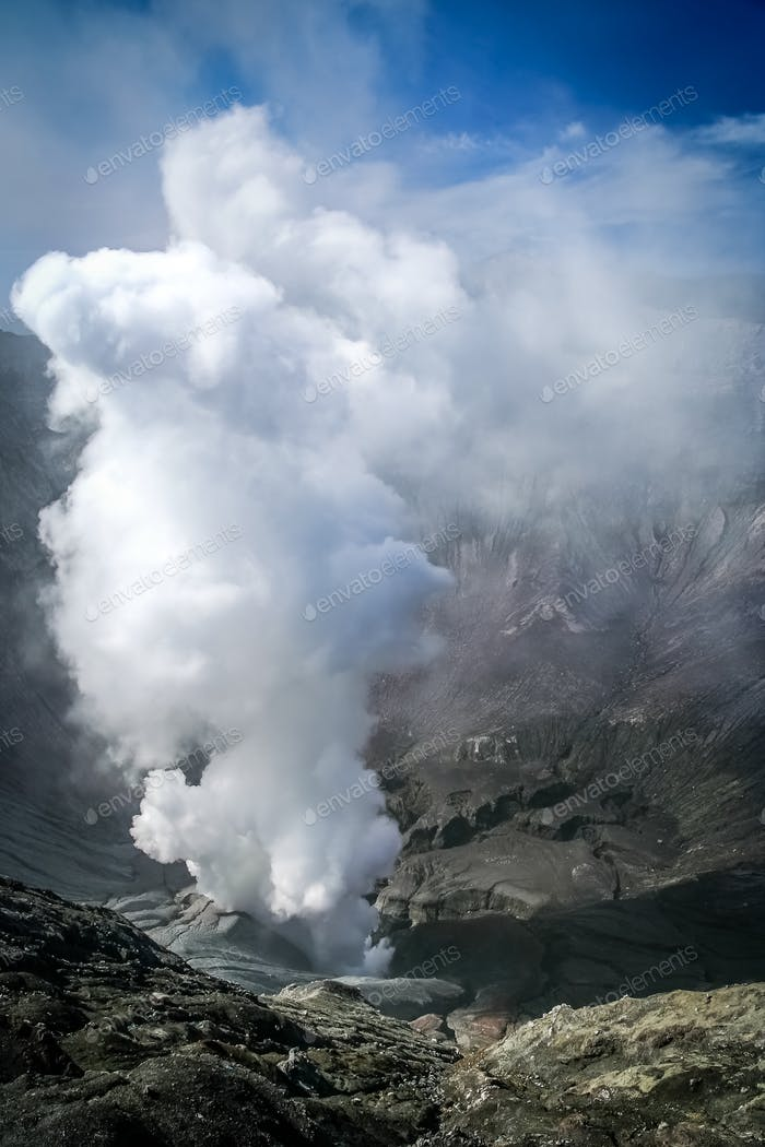 Smoking Bromo crater